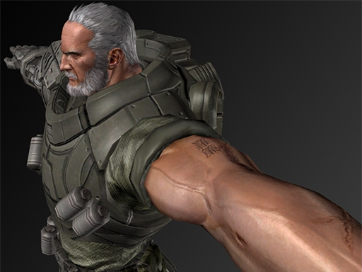 A character from Vanquish making use of new Noesis material features.